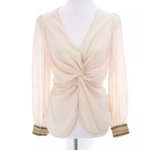 Miss Avenue Love Culture Chiffon Blouse Sz S
